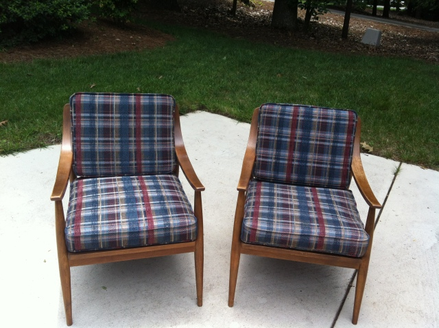 Mid-Century Modern Arm Chairs Before Makeover