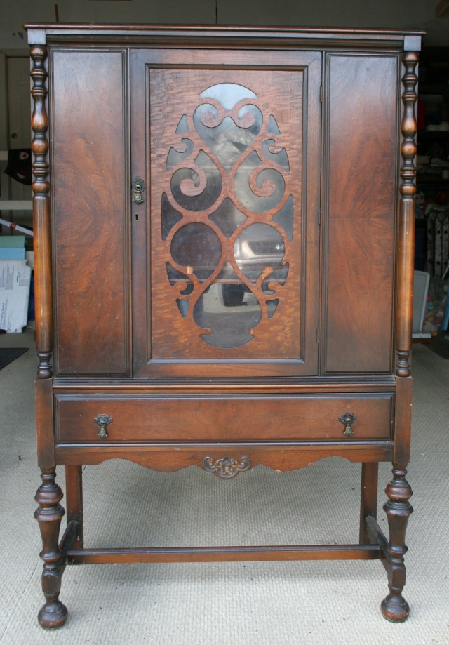 1920's cabinet before makeover