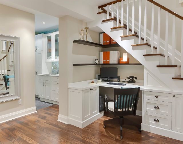 Under the stairs office niche by Sage Design Studio (photo credit: Leslie Goodwin Photography)