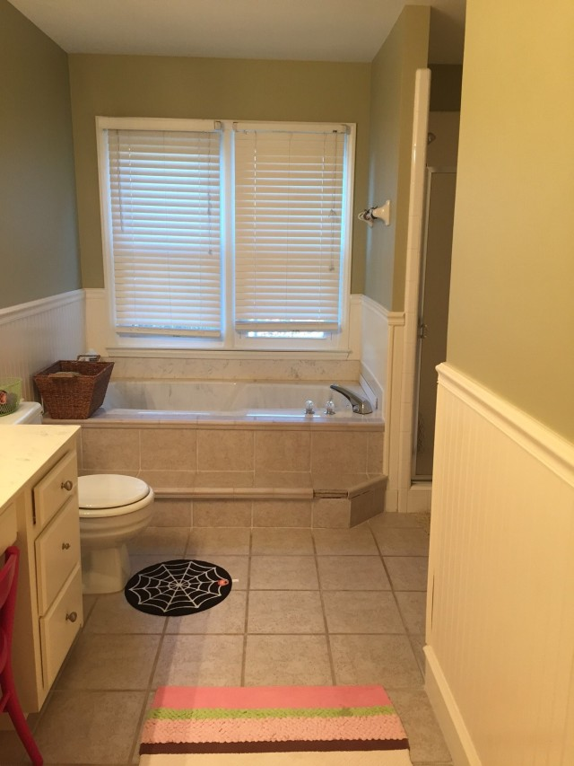 "Bath tub and shower enclosure ""Before"""