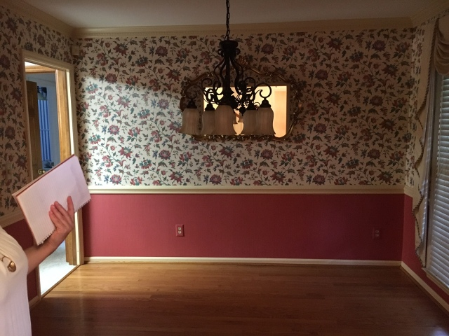 Dining Room Before Staging - Wallpaper was removed and new chandelier was installed